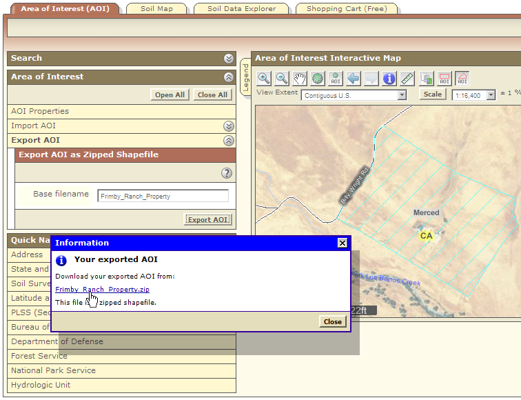 Web Soil Survey now allows you to save your AOI as a zipped shapefile.