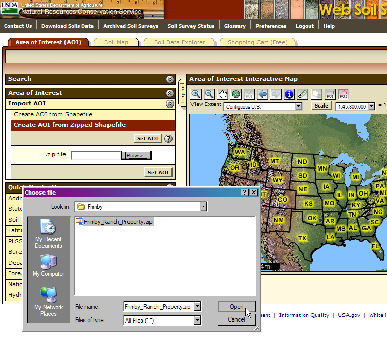 Web Soil Survey now allows you to create an AOI from a saved shapefile or zipped shapefile.