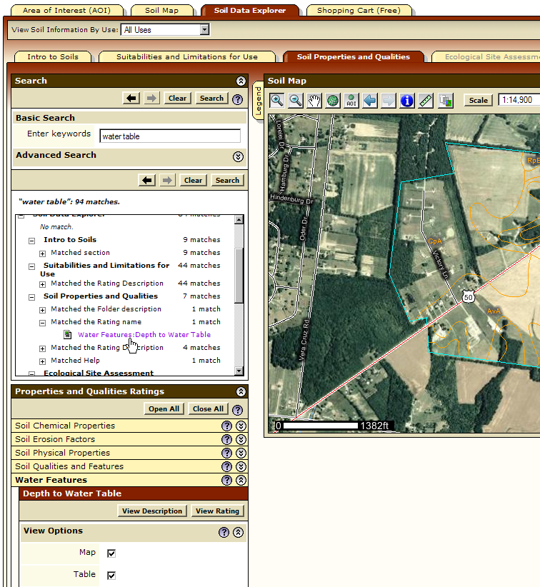Web Soil Survey allows you to search for keywords. Advanced Search options are available.