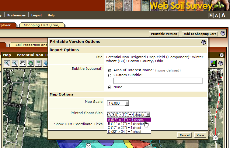 This image shows the Multi-Sheet Printable Maps option, with the A size being selected.