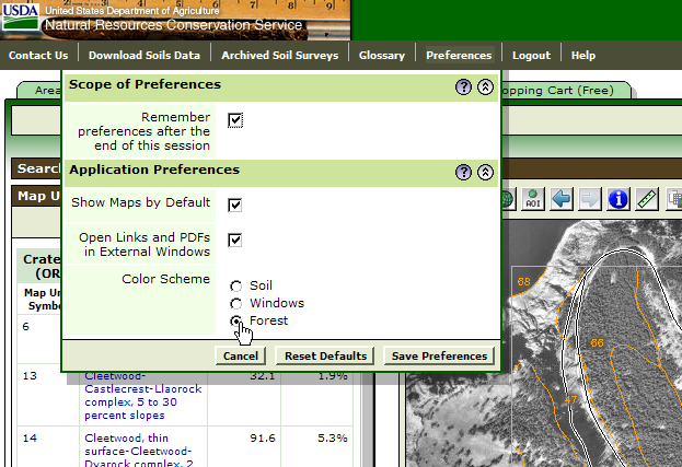 A Forest Color Scheme, available through the Preferences menu, displays user interface objects in green.