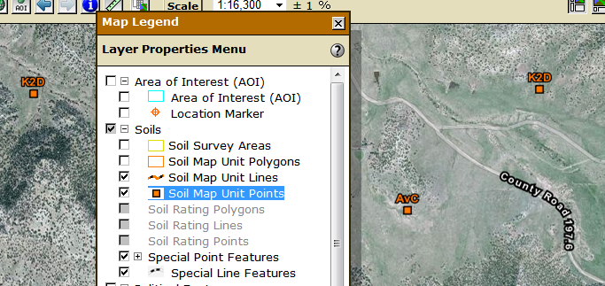 Soil map unit points have been added.