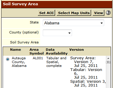 Quick Navigation for Soil Survey Area now allows an AOI to be created by choosing map units from a list.