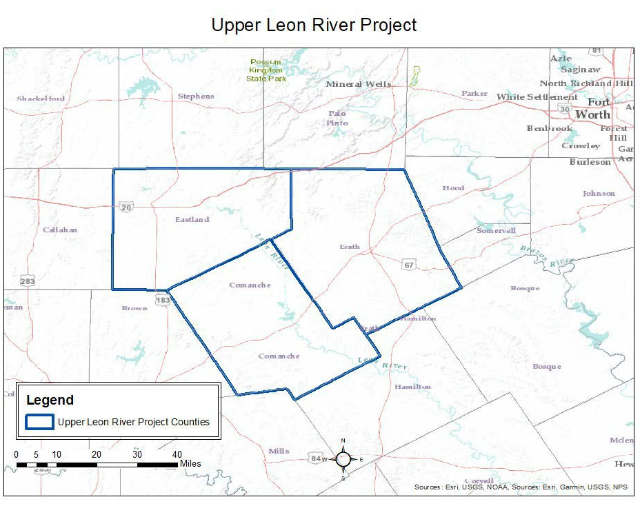 Texas Leon Feral Swine Control Pilot Project Map