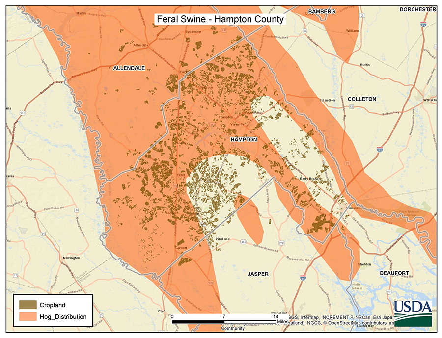 South Carolina Hampton Feral Swine Control Pilot Project Map