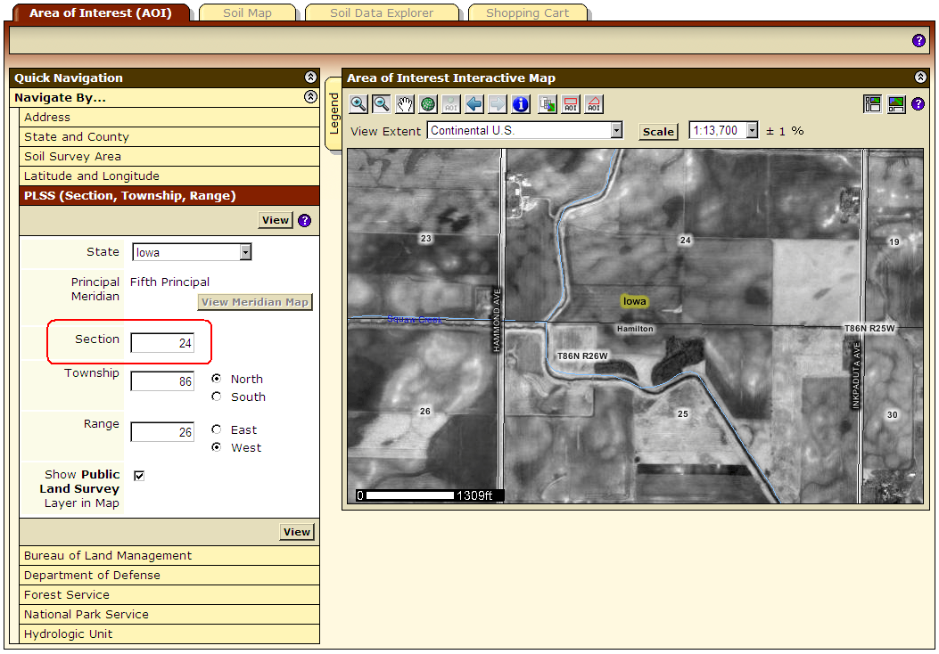 In addition to navigating by PLSS Range and Township, you can now navigate to a PLSS Section on the AOI tab.