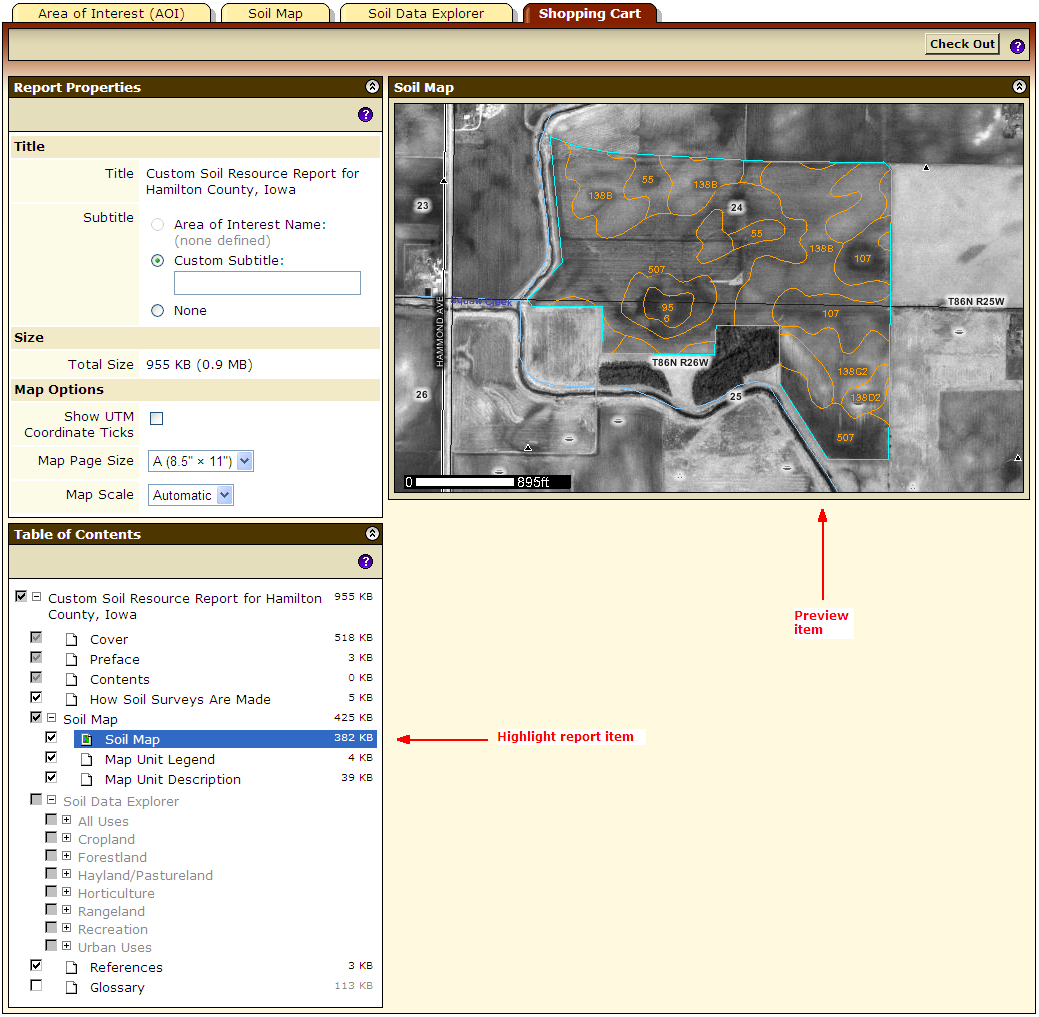 To preview a soil map, highlight and click the Soil Map report item.