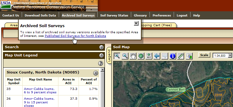 Archived soil survey publications are now available from a link on the main application navigation bar.