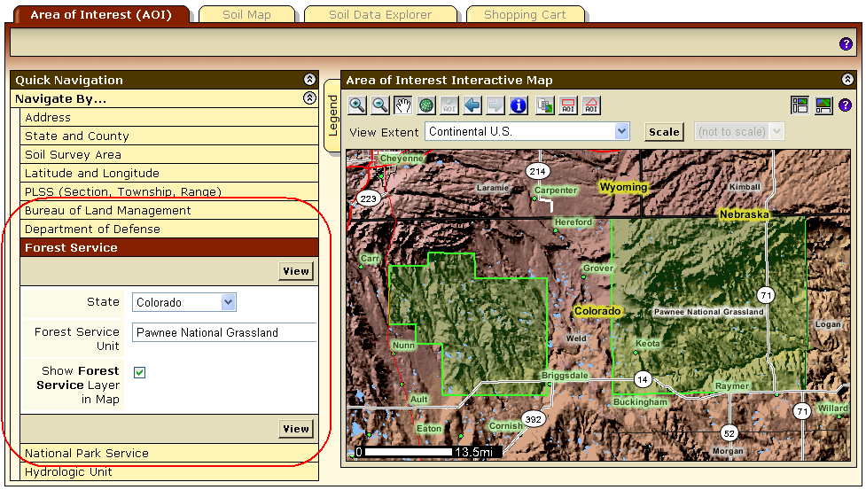 Navigate using a BLM office, DOD installation, a U.S. Forest service unit or a National Park.
