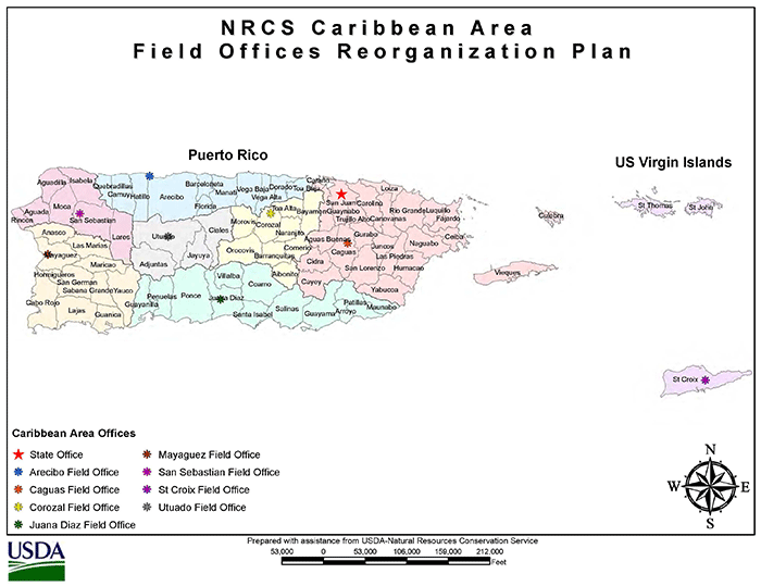 NRCS Caribbean Area Field Office Reorganization Map - 1 October 2019/ NRCS Mapa de reorganización de la oficina local del Área del Caribe - 1 de octubre de 2019