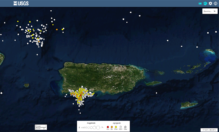 USGS Map of Earthquakes in the Puerto Rico area magnitude 2.5 and greater from Jan. 20 - Feb. 19 2020. Two clusters, one in SW Puerto Rico (Guánica region) and one in the ocean off northwest PR.