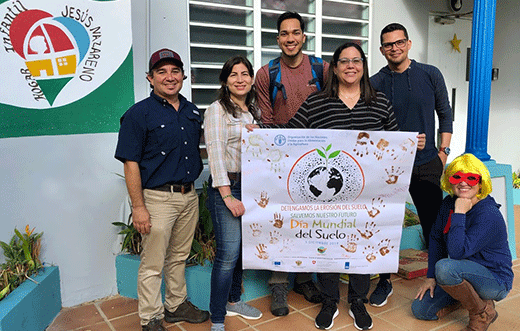 NRCS staff from left: Manuel Matos Caribbean Area State Soil Scientist; Janella Cruz NY Soil Scientist; Joxelle Velázquez-Garcia MS Soil Scientist; Brenda Cortez Hogar Infantil employee; Ricardo Colon CB State Conservation Biologist; Mighty Mini Lizandra Nieves-Rivera, CB Soil Scientist.