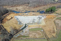 Aerial photo of Upper Deckers Creek Site 1 Dam Rehabilitation Project