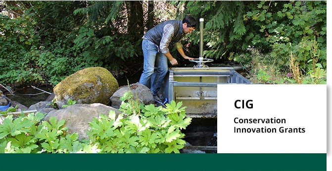 A graphic banner advertising the Conservation Innovation Grants program for fiscal year 2020. An individual stands next to a small water control structure with over-laid text promoting Conservation Innovation Grants