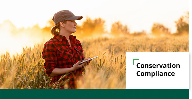 An banner graphic image of a producer in a wheat field with a strong, golden-sunlit backdrop wit a graphic overlay of text 'Conservation Compliance' in the lower right hand corner.