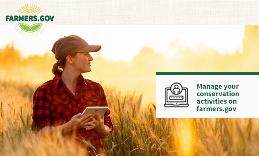 Banner photo of a producer standing in a field with a sunlit backdrop. There is a graphic overlay in the bottom right that says: Manage our conservation activities on farmers.gov