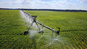 Center pivot irrigation system watering crops