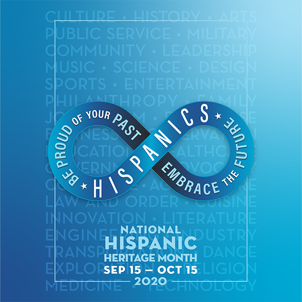 Poster - National Hispanic Heritage Month Sep 15 - Oct 15 2020 - Hispanics be proud of your past, embrace the future