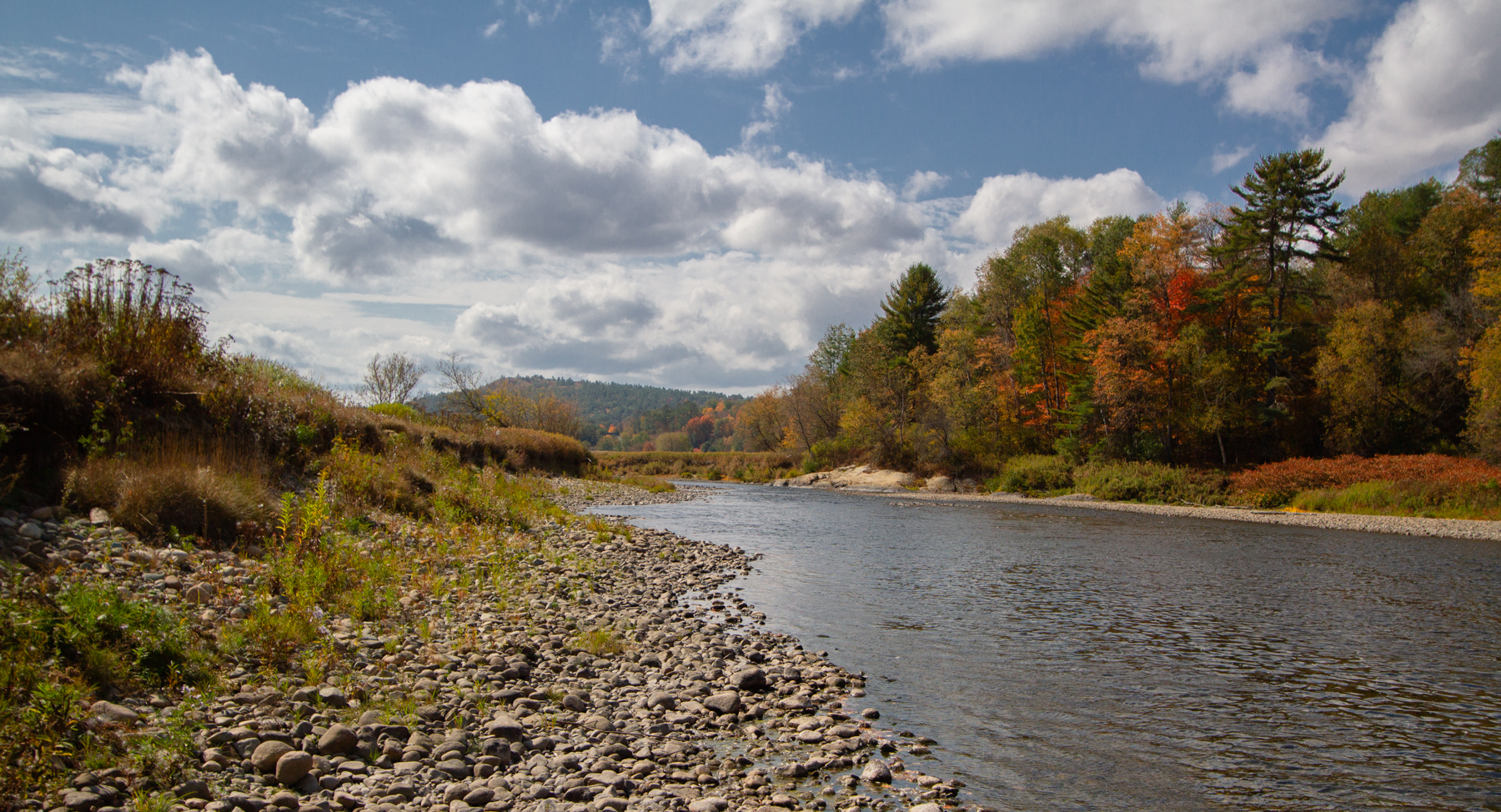 The Ammonoosuc River winds through Lisbon, N.H. September 29, 2020, past a future NRCS-funded streambank stabilization project for the Ammonoosuc Conservation Trust.