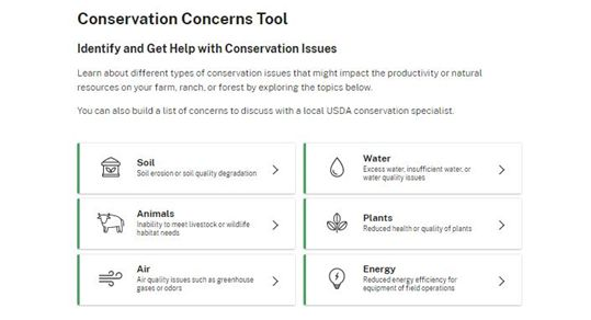 Conservation Concerns Tool: Identify and Get Help with Conservation Issues.