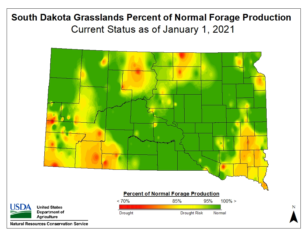 Current drought status in South Dakota in January 2021