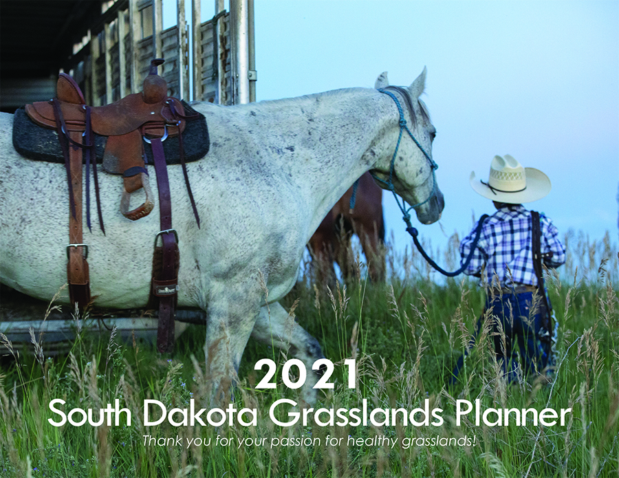 Cover of the 2021 Grassland Planner with a small boy leading a horse out of a barn.