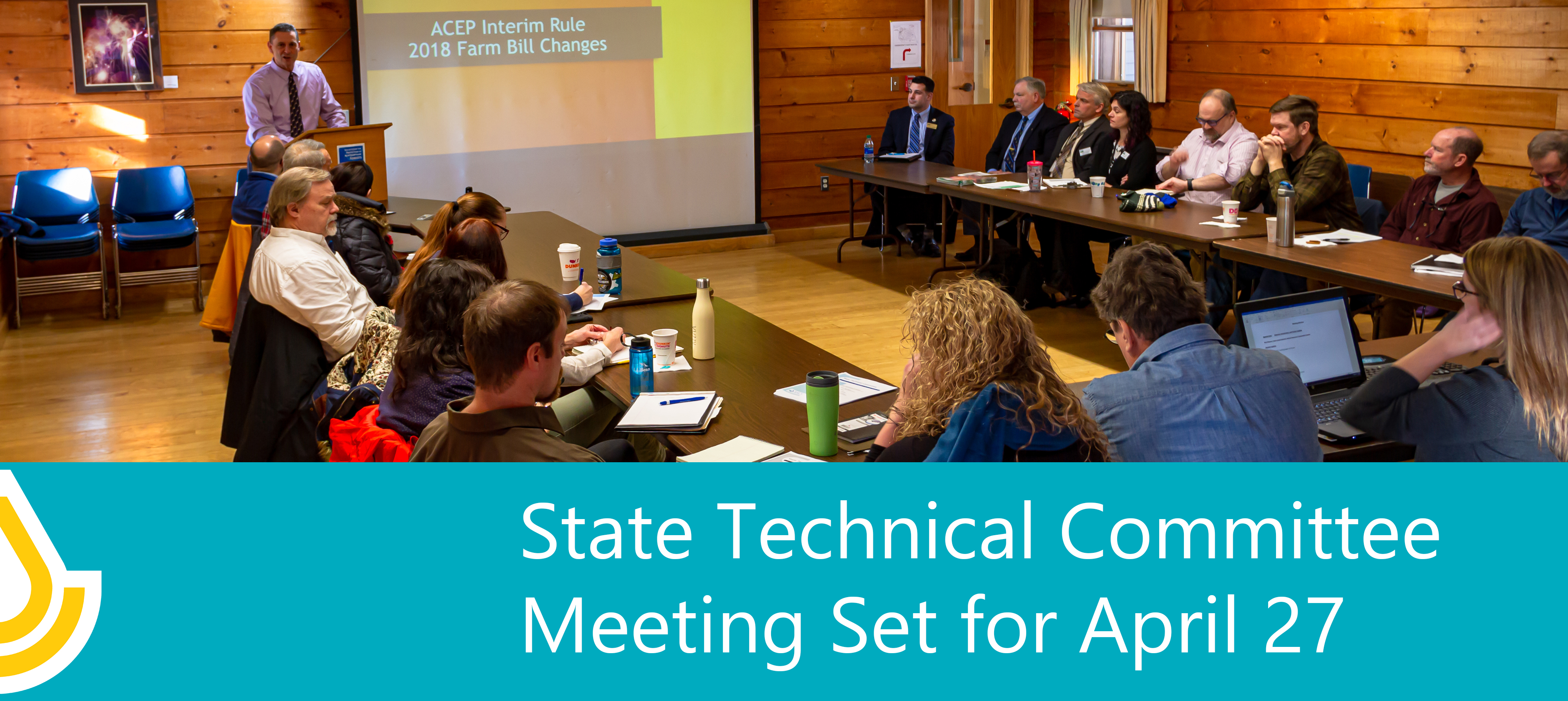 A banner advertising the State Technical Committee meeting to be held on 27 April, 2021 form 9:30-noon on Microsoft Teams.
