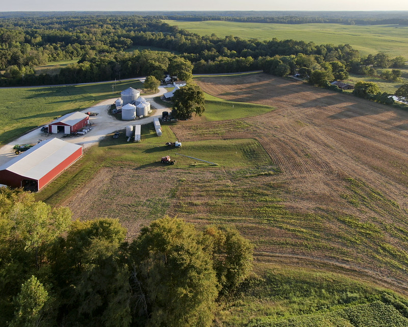 Aerial photo of a farm.