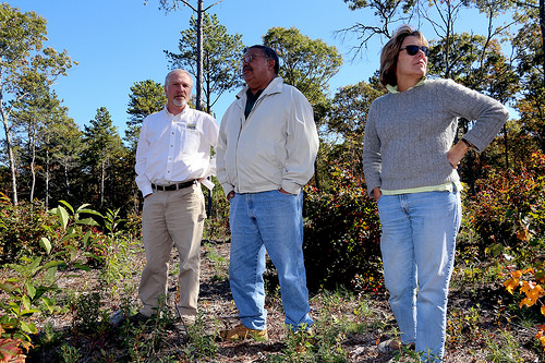 Leaders from The Trustees of Reservations, Mashpee Wampanoag Tribe and Orenda Wildlife Land Trust lo