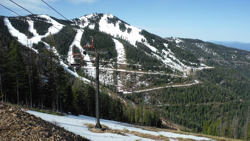 Photo by Brett Holmes, NRCS  showing the impacts of record low snowfall at Silver Valley Ski Resort.