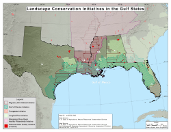 map showing  nrcs landscape initiative work in gulf states