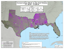 map showing locations of NRCS contracts and easements in gulf states