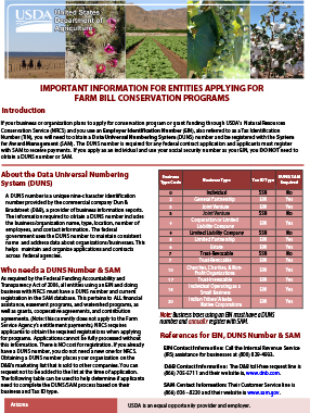 This DUNS SAMS Fact Sheet provides important info for entities appying for conservation programs
