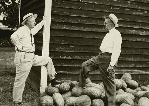 Dr. Hugh Hammond Bennett (left) and Mr. Roach Stewart of Duke Power Company attend a picnic for tena