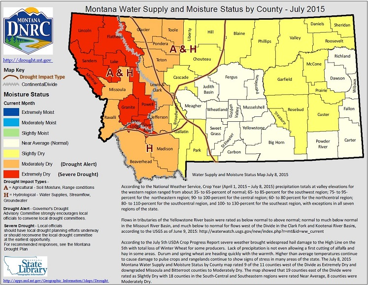 Montana county drought maps are created monthly with cooperators across the state.