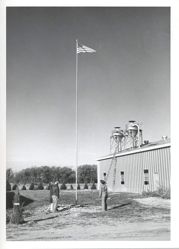 PMC staff view American flag following initial raising on newly installed flagpole.