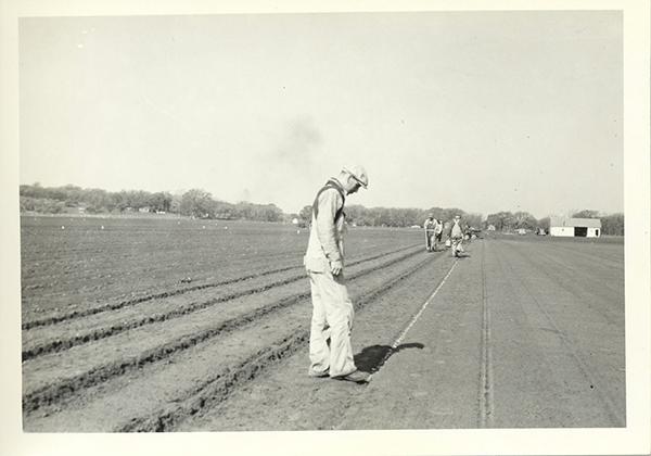 Crew planting elm seed in 1937 at Manhattan SCS Nursery.