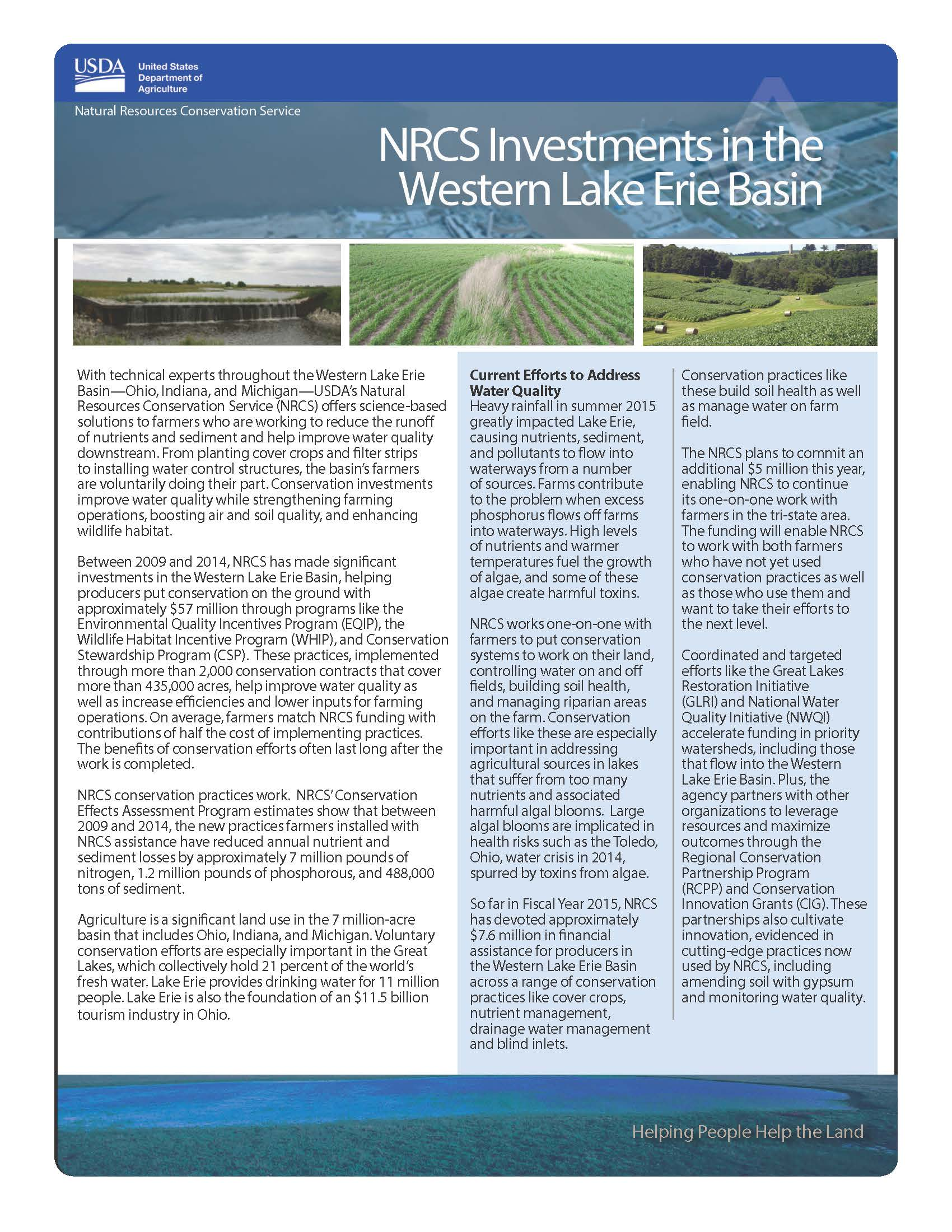 NRCS Investments in the Western Lake Erie Basin