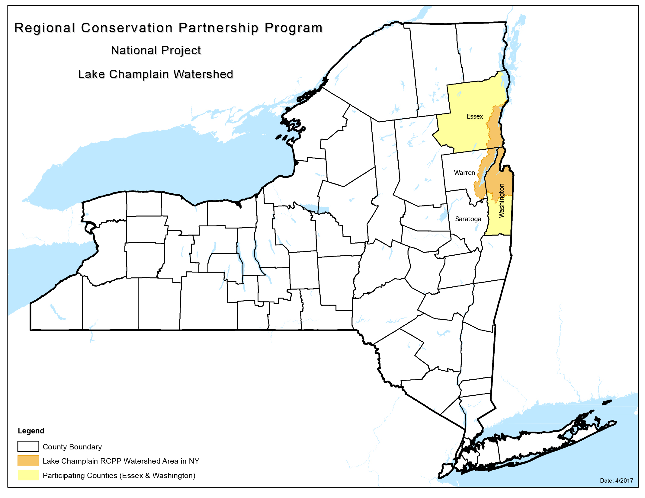 National Projects NRCS New York - Lake champlain on us map