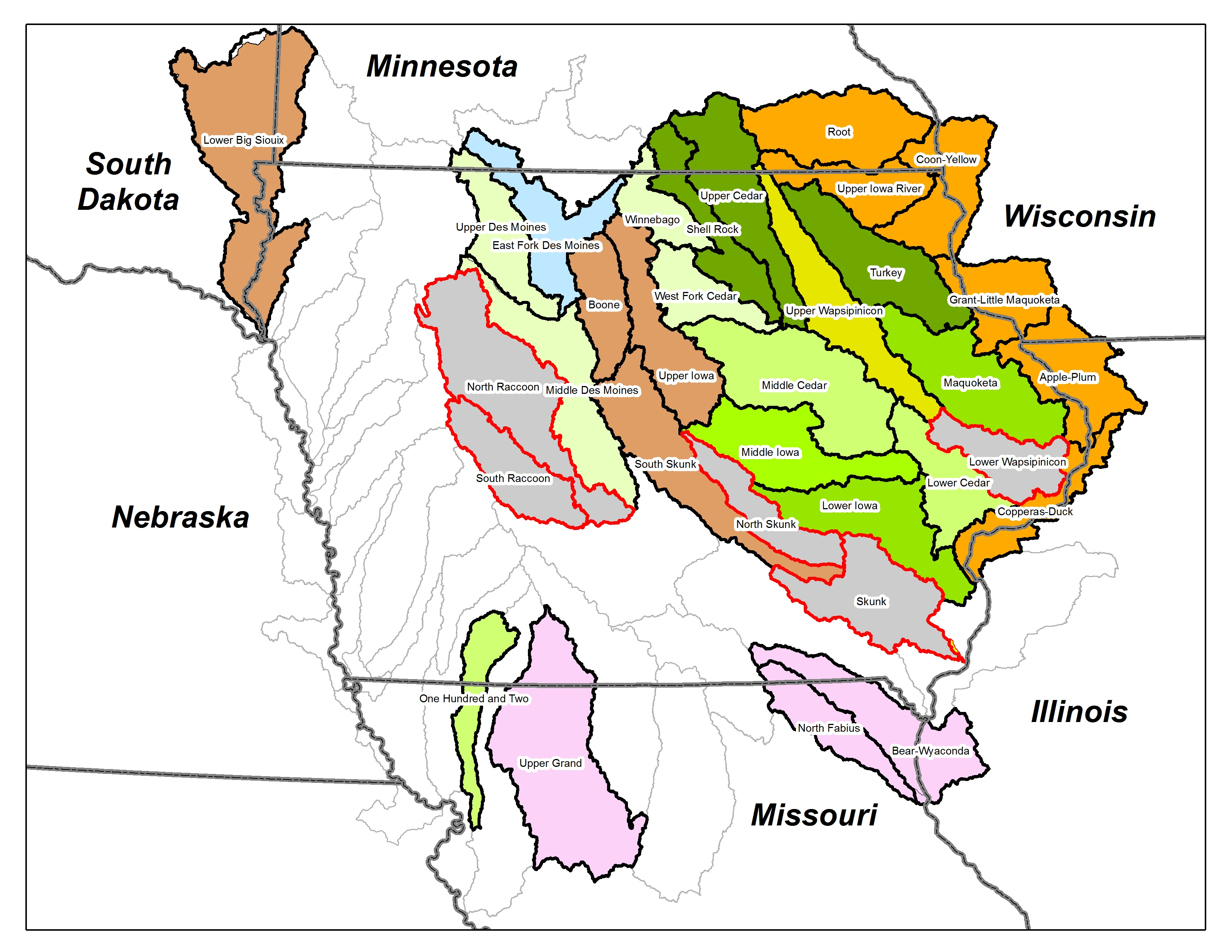 graphic regarding Printable Map of Iowa named Quick Watershed Investigation NRCS Iowa