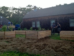 Narragansett Tribal Workers Pose in Community Garden