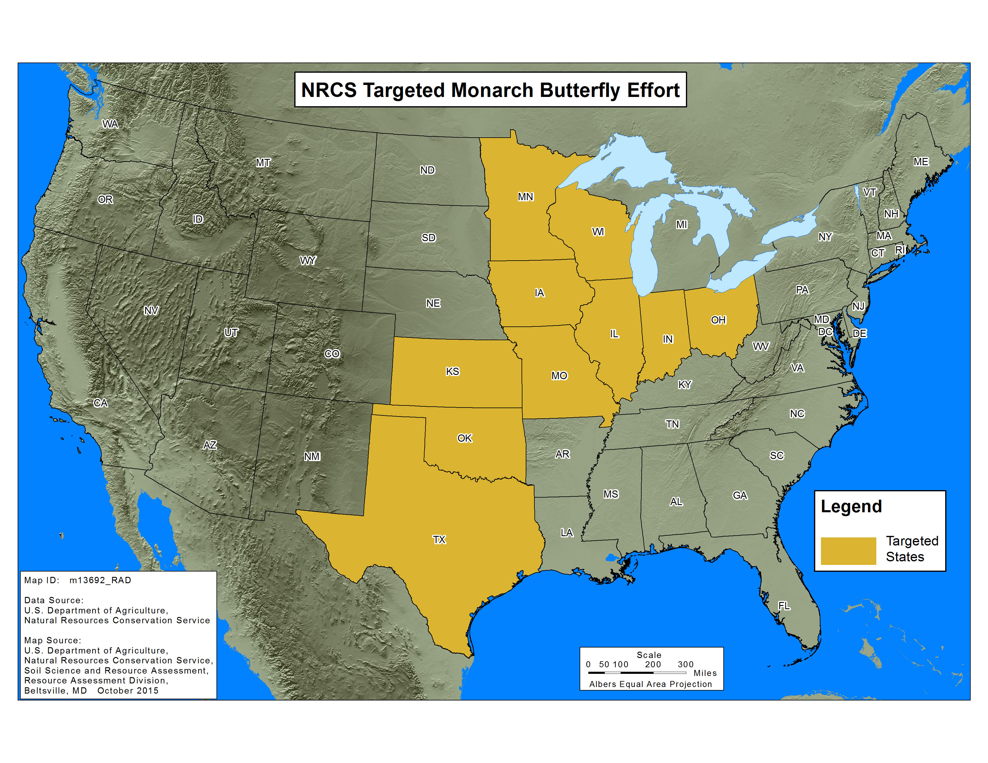 Monarch Butterfly initiative target map 2016