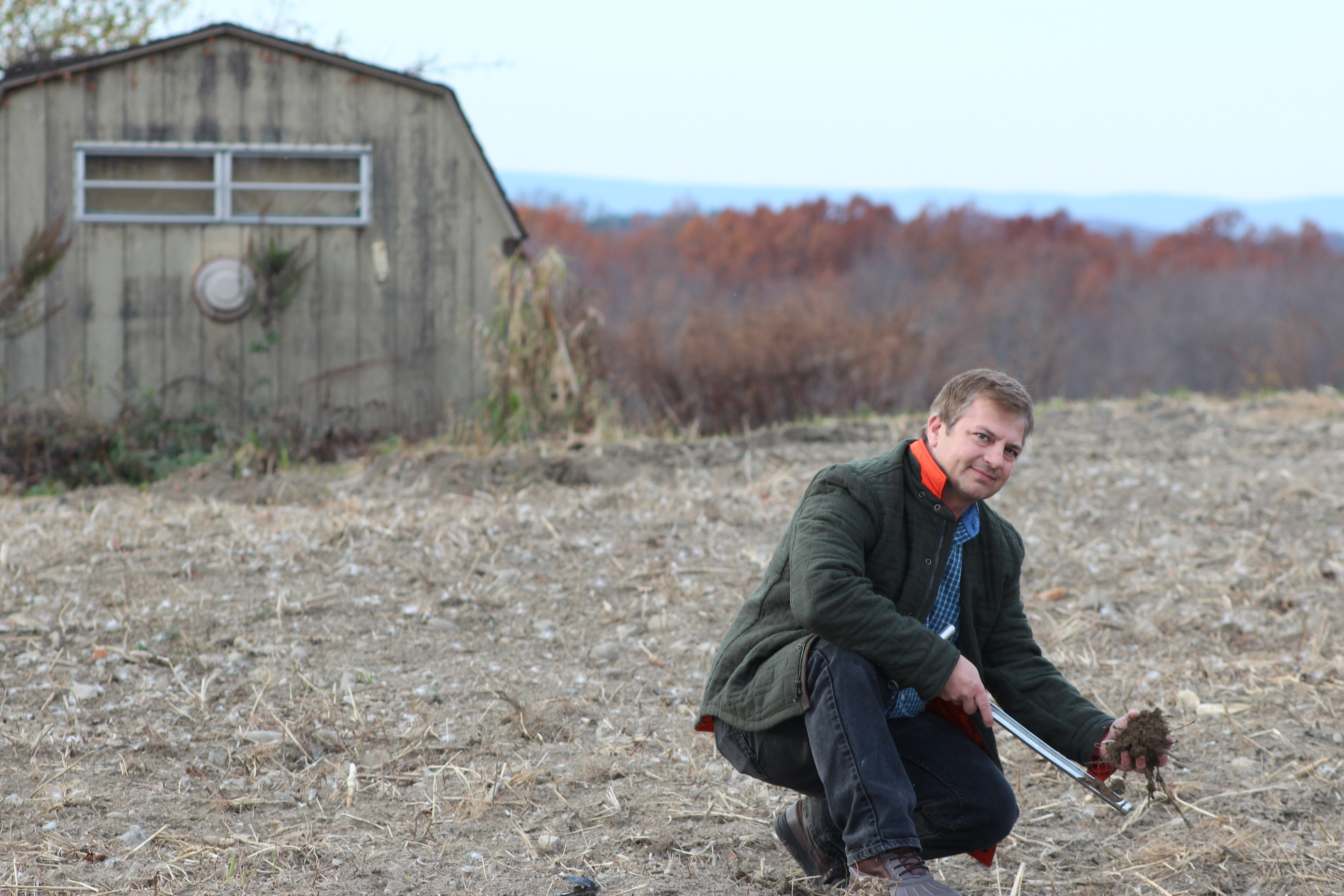 NRCS Resource Conservationist Joe Heller in residue-covered vegetable field in New York.