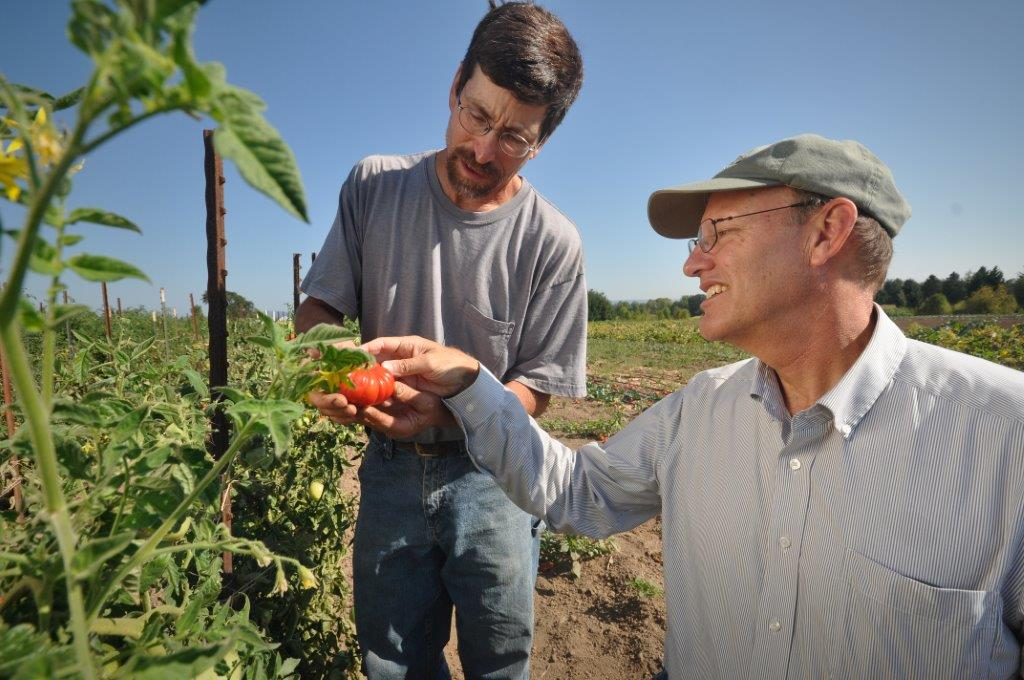 Oregon organic farmer Chris Roehm and NRCS Basin Resource Conservationist Dean Moberg examine an org