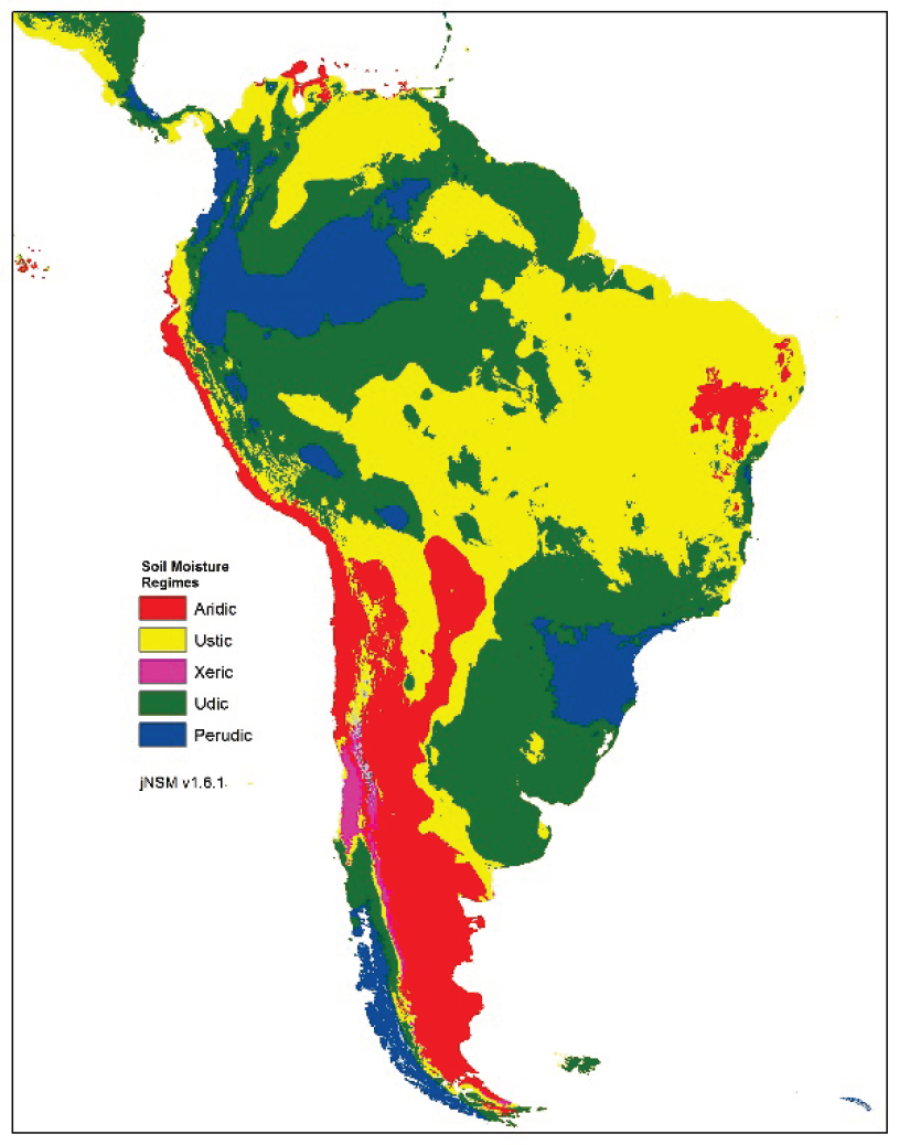 South American soil moisture regime raster output from jNSM v1.6.1 with PET calculation correction.