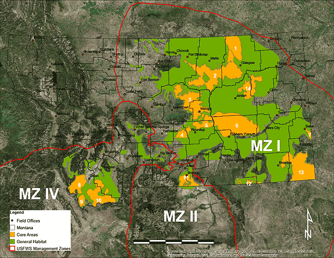 US Fish and Wildlife Service Great Plains Management Zone Map NRCS