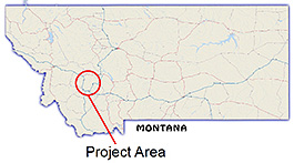 Map shows Upper Clark Fork project is located in the mountains of west-central Montana.