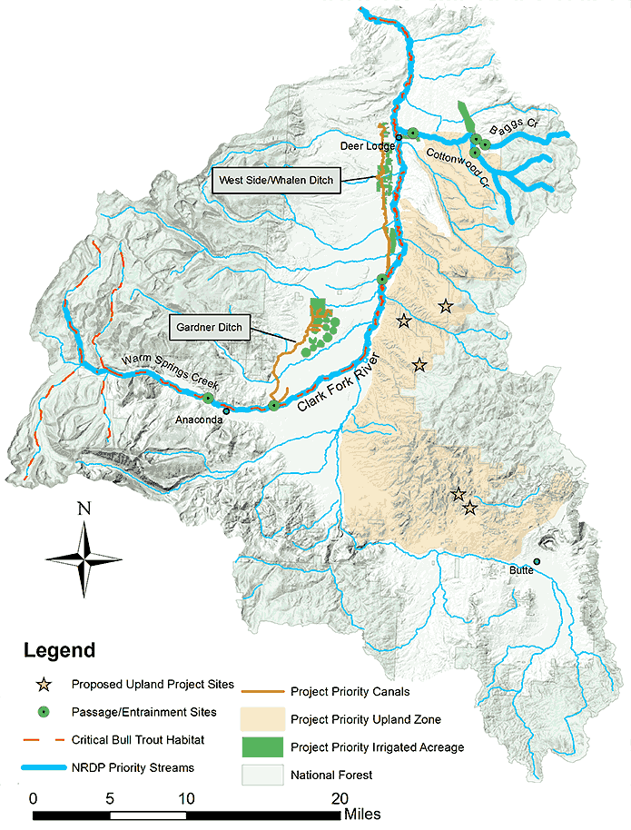 Map shows Upper Clark Fork Drought Resiliency Project priority streams, bull trout habitat, and upland project sites.