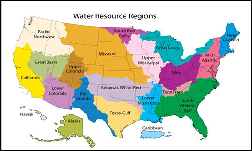 Map of the Water Resource Regions in the US