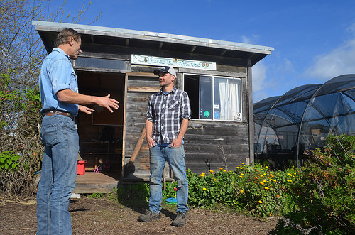 Rich Casale, NRCS district conservationist, provides assistance to Chris Omer, farm manager, Homeless Garden Project, Santa Cruz, CA. NRCS photo..jpg